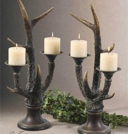 Stag Horn, Candleholder, S/2