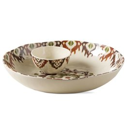 Ikat Melamine Chip and Dip with Lid Set of 2