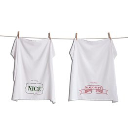 Naughty and Nice Flour Sack Dishtowel Set of 2