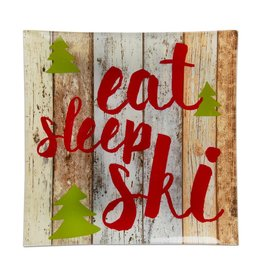 Eat Sleep Ski Glass Plate