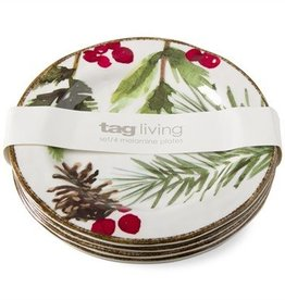 Greenery Melamine Appetizer Plate Set of 4