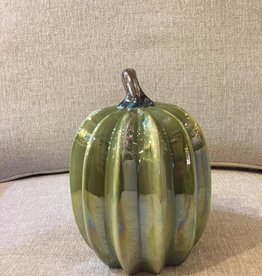 "8""H Dolomite Harvest Pumpkin, Green"