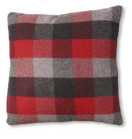 Red and Grey Plaid Pillow 18""