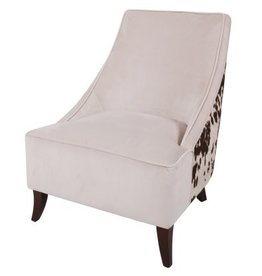 Jones KD Fabric Accent Chair Brown Legs, Brown Cowhide/Solaria Beige