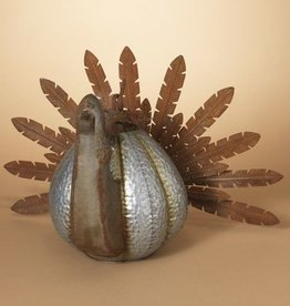 Metal Turkey W/ Pumpkin Body 27""