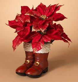 "16"" Magnesium Red Santa Boots Planter"