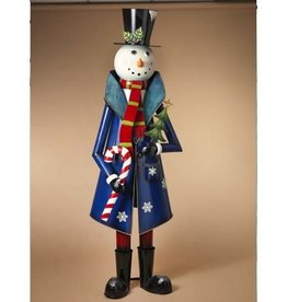 """59"""" Metal Snowman Holding Candy Cane"""