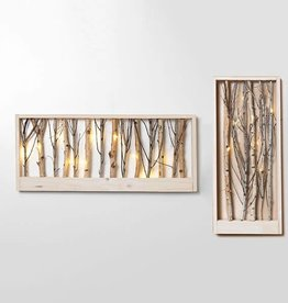 "24"" B/O Lighted Wood Forest Wall Hanging--2 assorted"