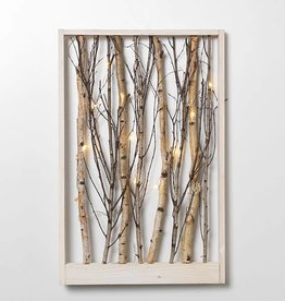 "22.5"" B/O lighted Wood Forest Wall Hanging--2 assorted"
