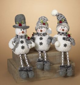 "15"" Plush Holiday Snowman Shelf Sitter--3 assorted"