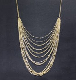 Multi Strand Swag Necklace--Gold