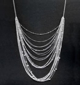 Multi Strand Swag Necklace--Silver