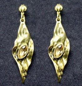 Wrinkled Leaf Drop Earrings-Gold