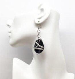 Wire Wrap Stone Drop Earrings