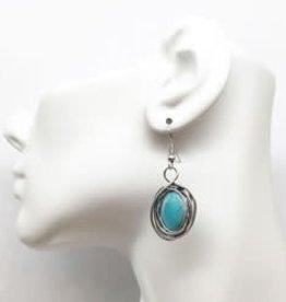 Wire Wrap Turquoise Earrings