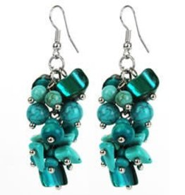 Grape Cluster Turquoise Earrings