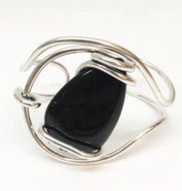 Wire Wrap Stone Cuff Bracelet--black