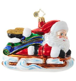 Sledding Santa Ornament 2017
