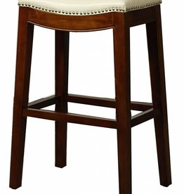 Elmo Bonded Leather Bar Stool, Ivory
