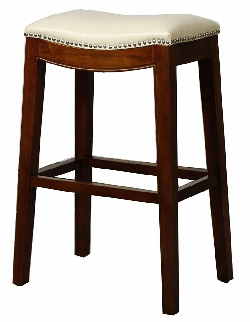 Elmo Bonded Leather Bar Stool Ivory Beckman S
