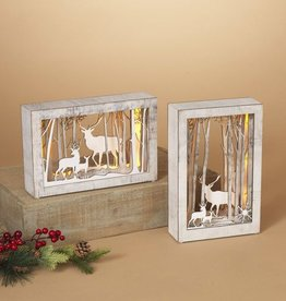 "11"" Lighted Wood Deer Frame"