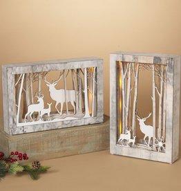 """13.5"""" Lighted Wood Frame Deer"""