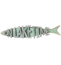 On Lake Time Fish Shaped Wall Decor