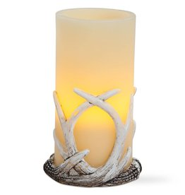 Flameless LED Antler Pillar 3x6