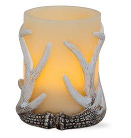 Flameless LED Antler Pillar 3x4