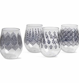 Henna Stemless Wine Glass---set/4