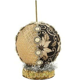 """Fairy/Elf Stand 5"""" Black and Gold Floral"""