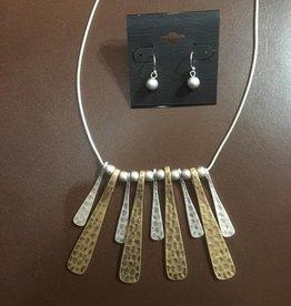 Hammered Matte Gold & Silver Necklace Set
