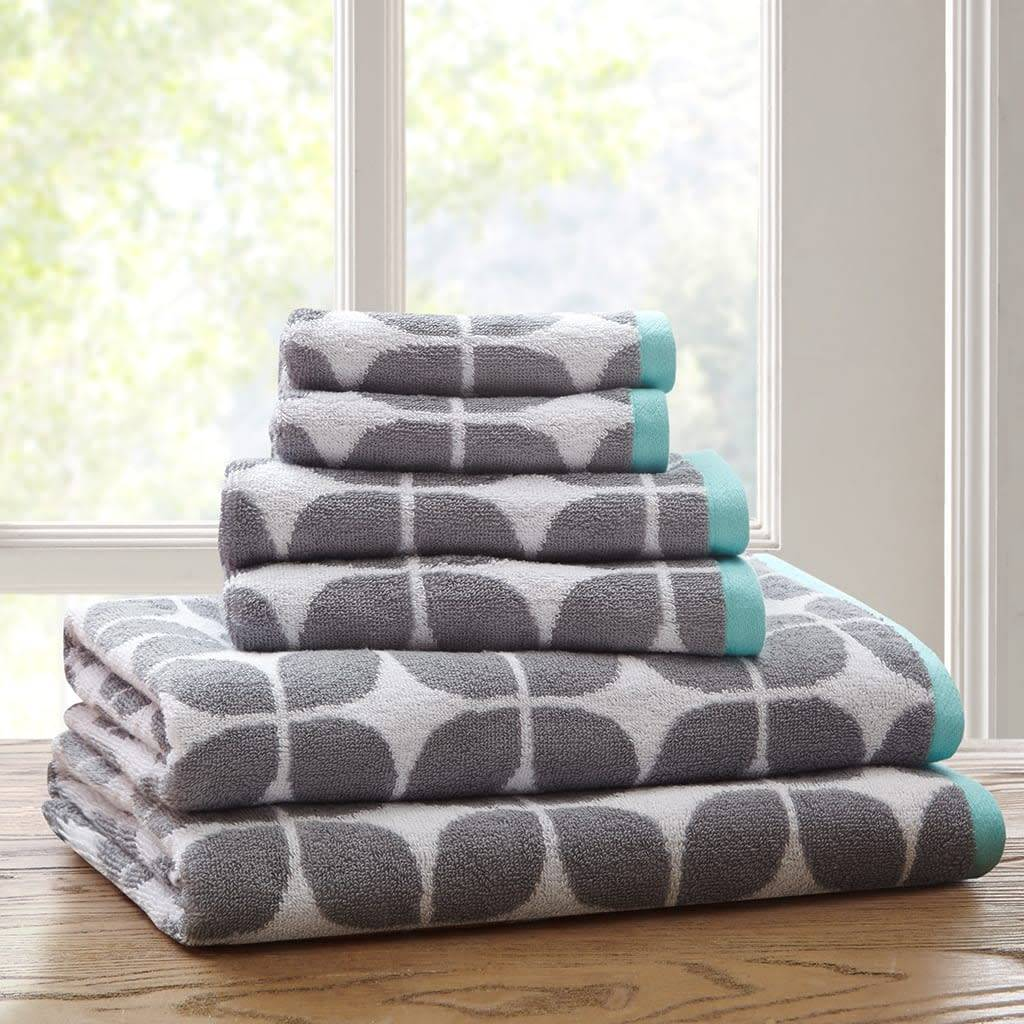 Intelligent Design Grey White and Blue 6 Piece Towel Set