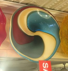 "Blue and Cream Swirl Wall Plate ""12"