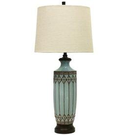 Ceramic Table Lamp/Wood Finish