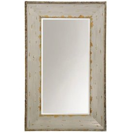 Ivory and Gold Weathered, Beveled Mirror
