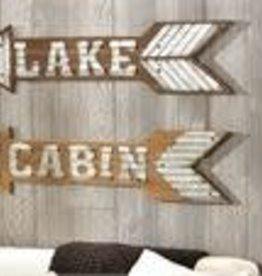 Wood and Metal Arrow Sign--LAKE