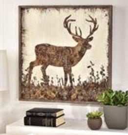 Framed Wood Deer Design