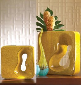 Square Yellow Amoeba Vase--Small