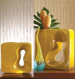 Square Yellow Amoeba Vase--Large
