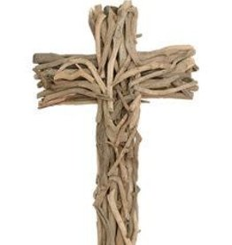 Driftwood Cross W/ Wood Base