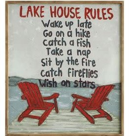 "Wood Framed Canvas ""Lake House Rules"""