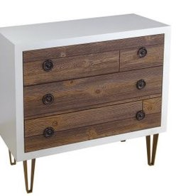 Coast To Coast Imports White Edge and Wood Drawers Chest