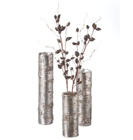 Silver Birch Finish Vases--  S/3