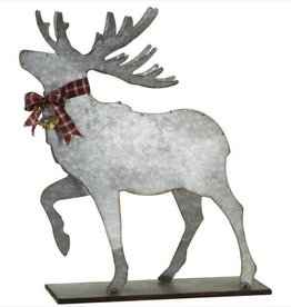 Galvanized Deer With Bow and Bell--small