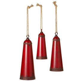 Distressed Red Bells--S/3