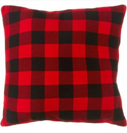 Oversized Plaid Floor Pillow with Leather Handle