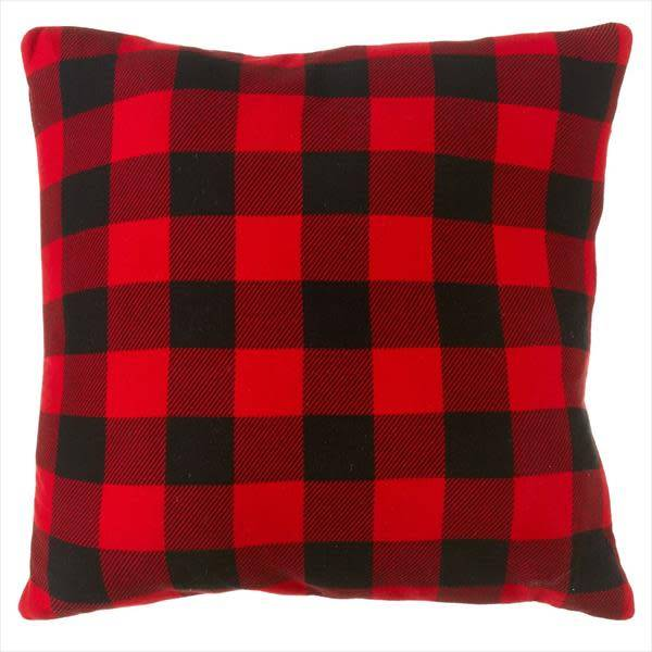 Oversized Plaid Floor Pillow with Leather Handle - Beckman\'s