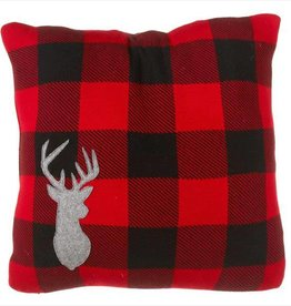 Plaid Pillow With Stag