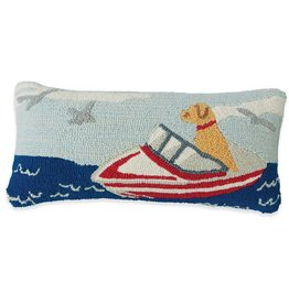 Dog In A Boat Hooked Pillow